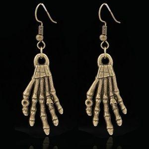Bronze Skeleton Hand Earrings